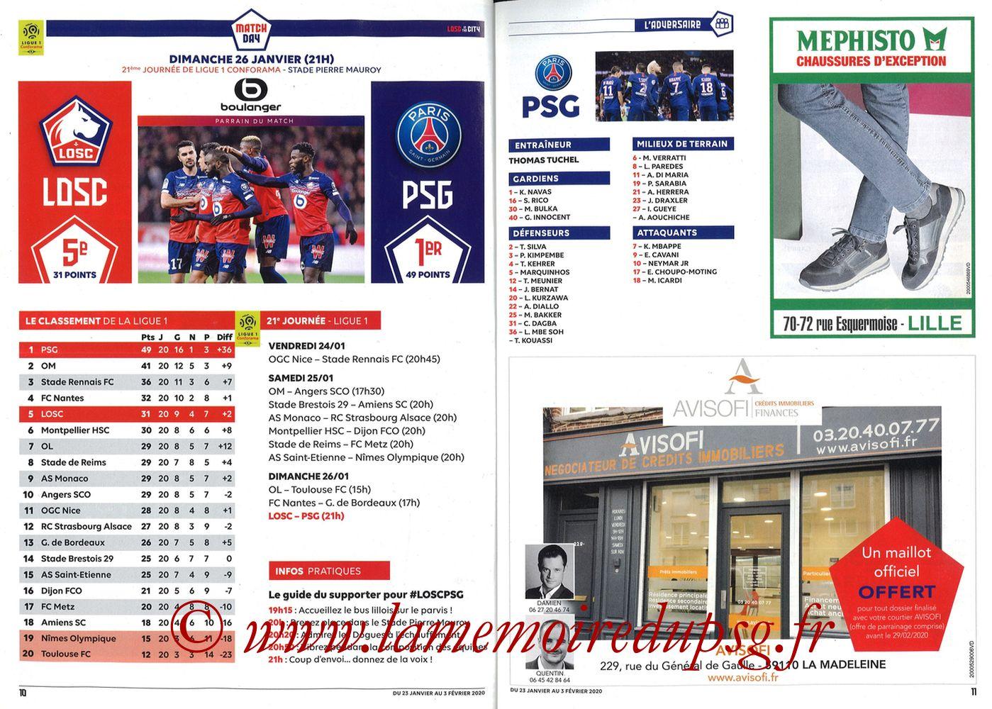 2020-01-25  Lille-PSG (21ème L1, Losc in the City N°41) - Pages 10 et 11