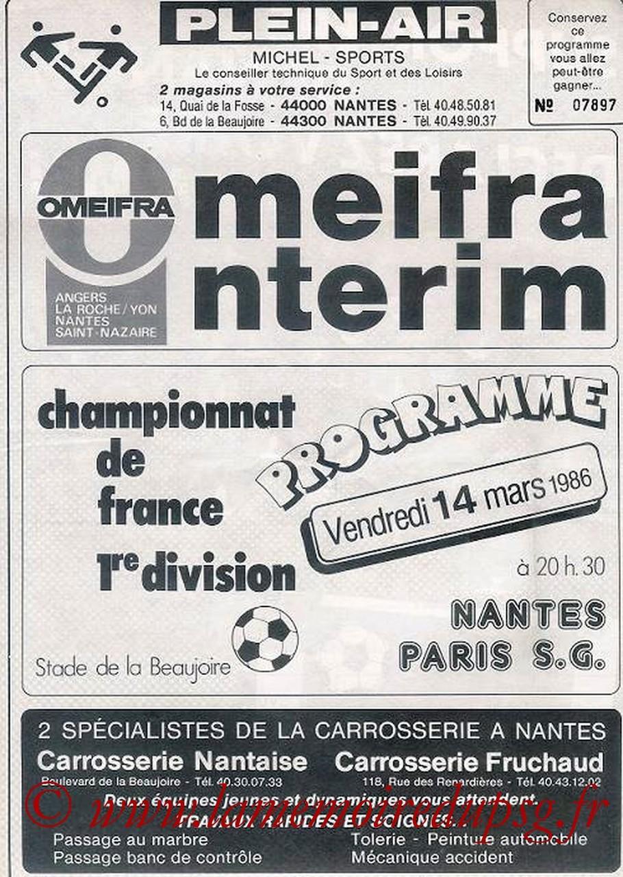 1986-03-14  Nantes-PSG (33ème D1, Programme Officiel)