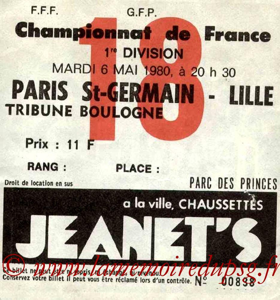 1980-05-06  PSG-Lille (36ème D1, Ticket N°18)