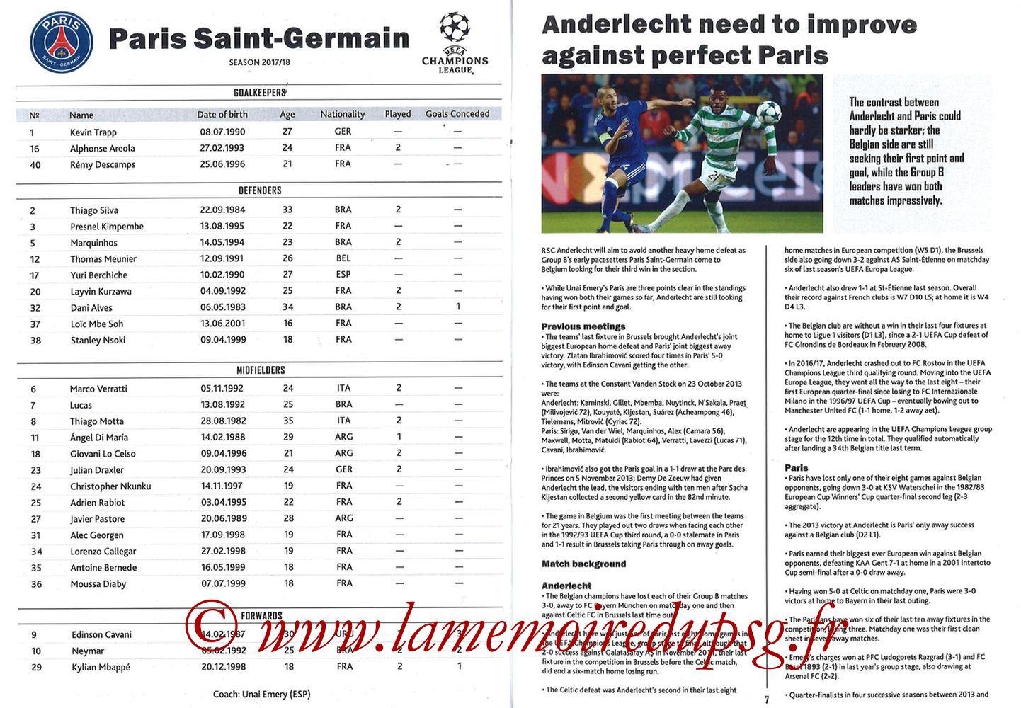 2017-10-18  Anderlecht-PSG (3ème Poule C1, Programme pirate) - Pages 06 et 07
