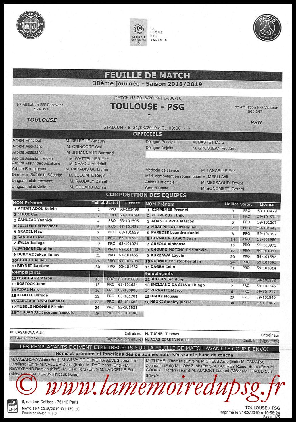 2019-03-31  Toulouse-PSG (30ème L1, Feuille de match)