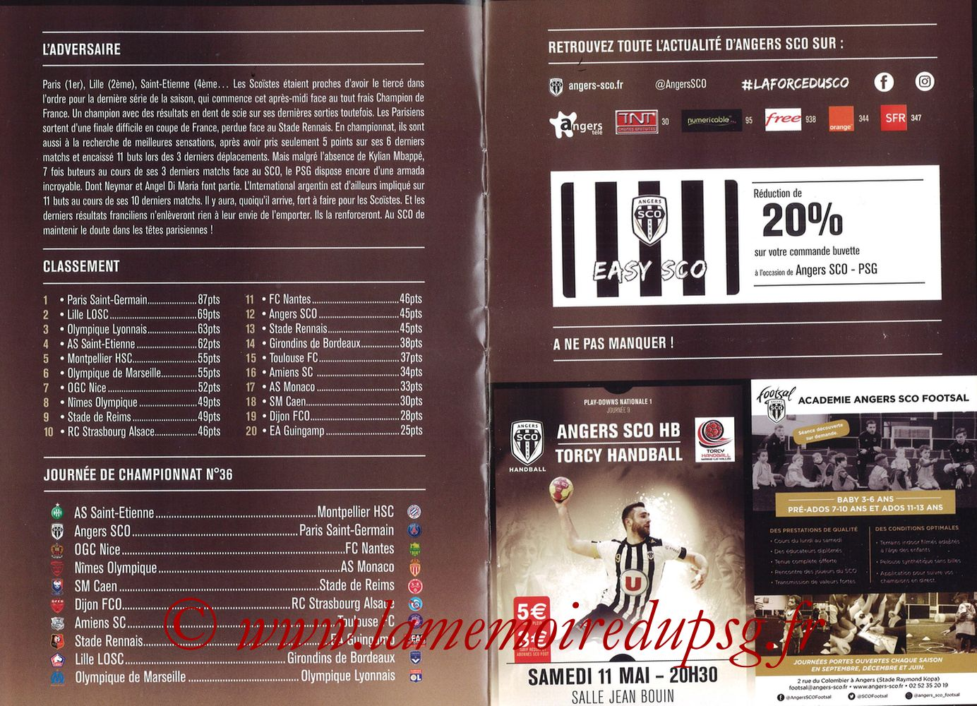 2019-05-11  Angers-PSG (36ème L1, Programme officiel N°18) - Pages 02 et 03