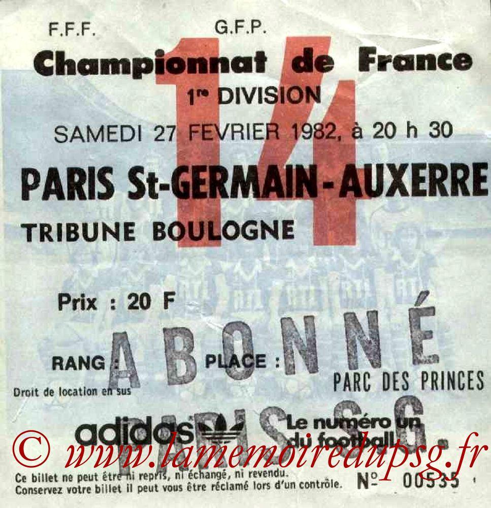1982-02-27  PSG-Auxerre (28ème D1, Ticket N°14)