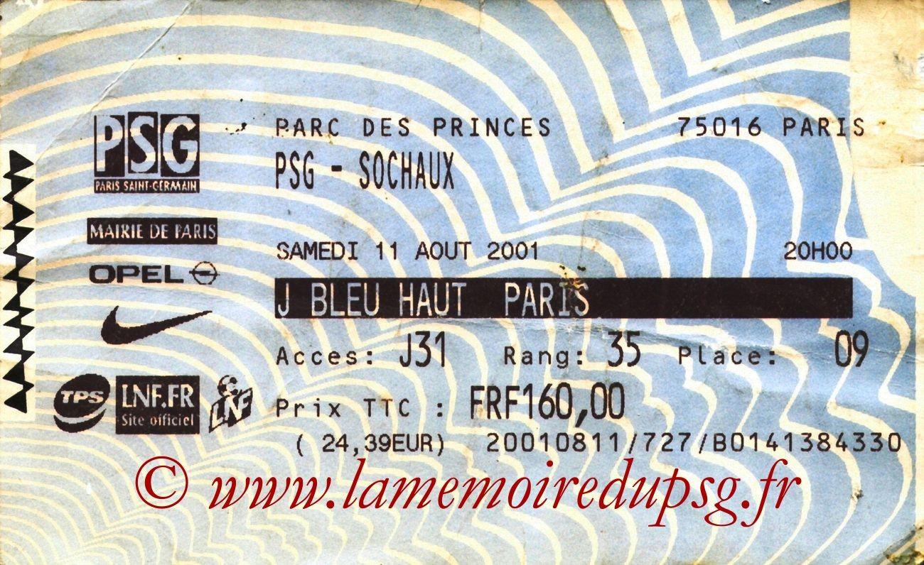 2001-08-11  PSG-Sochaux (3ème D1, Billetel)