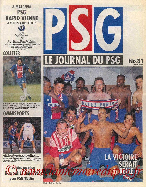 1996-05-08  PSG-Rapid Vienne (Finale C2 à Bruxelles, Le Journal du PSG N°31)