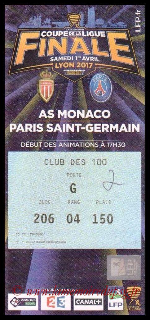 Ticket Finale CL N° 23 - 2017-04-01 - Monaco-PSG (Parc OL de Lyon)