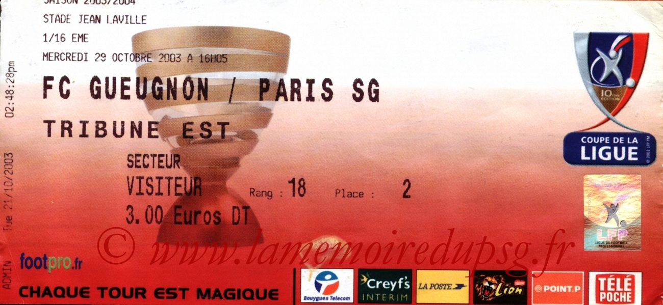2003-10-29   Gueugnon-PSG (16ème Finale CL)