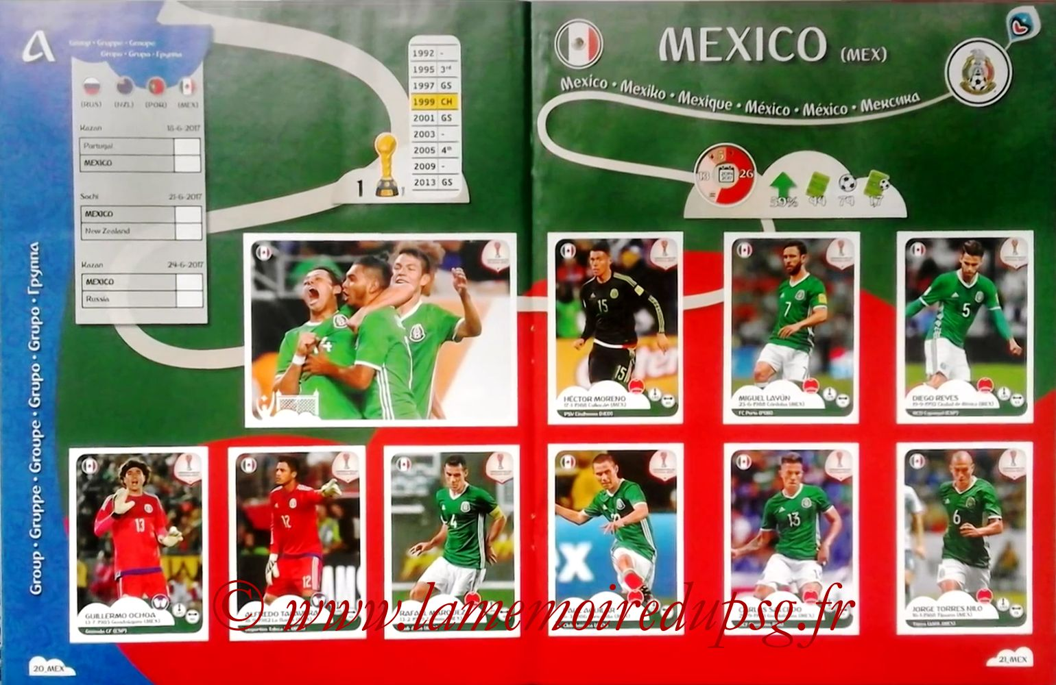 2017 - Panini Confederations Cup Russia Stickers - Pages 20 et 21 - Mexique