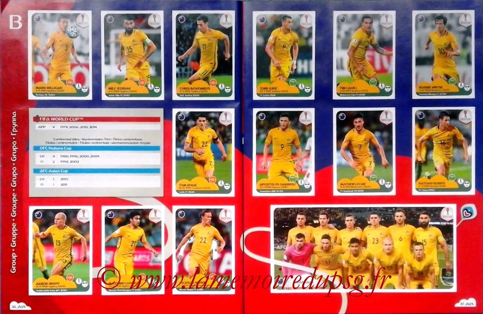 2017 - Panini Confederations Cup Russia Stickers - Pages 36 et 37 - Australie