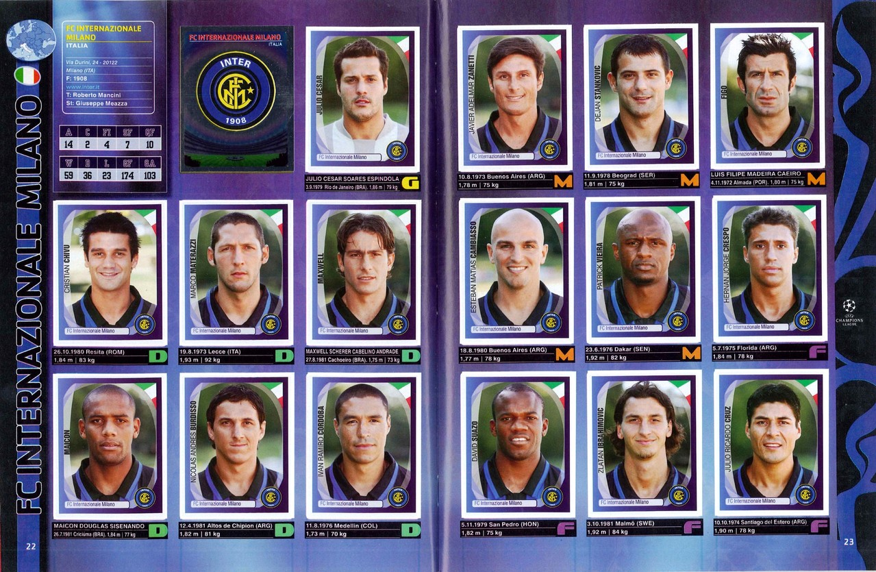 2007-08 - Panini Champions League - Pages 22 et 23 - FC Inter Milan