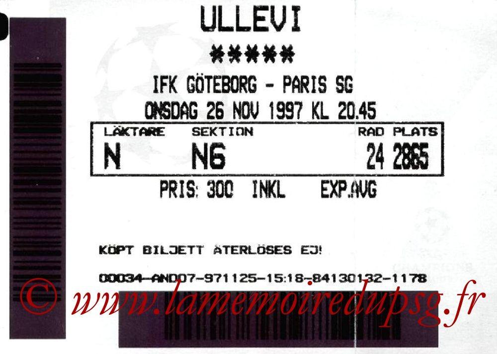 1997-11-26  IFK Goteborg-PSG (5ème Journée Poule C1)