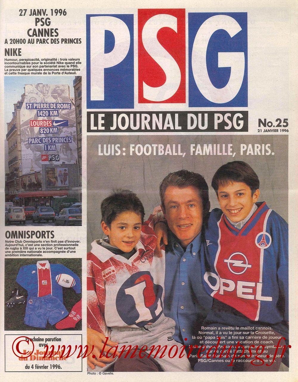 1996-01-27  PSG-Cannes (25ème D1, Le Journal du PSG N°25)