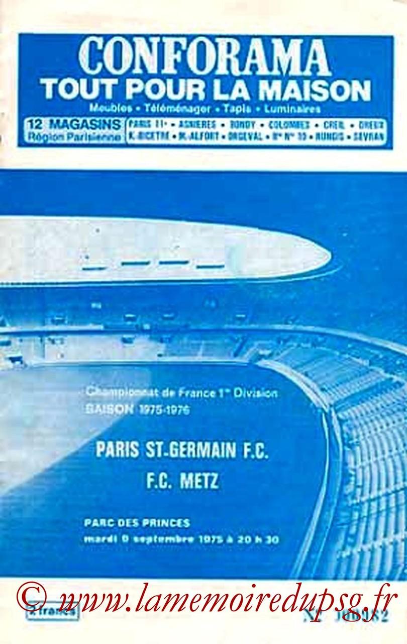 1975-09-09  PSG-Metz  (5ème D1, Officiel PSG)