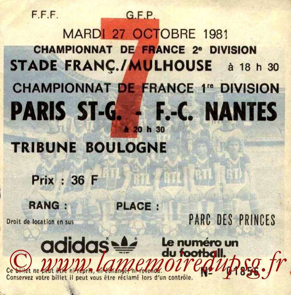 1981-10-27  PSG-Nantes (15ème D1, Ticket N°7)
