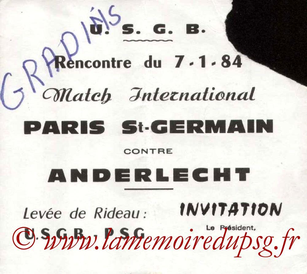 1984-01-07  PSG-Anderlecht (Amical à Boulogne sur Mer)