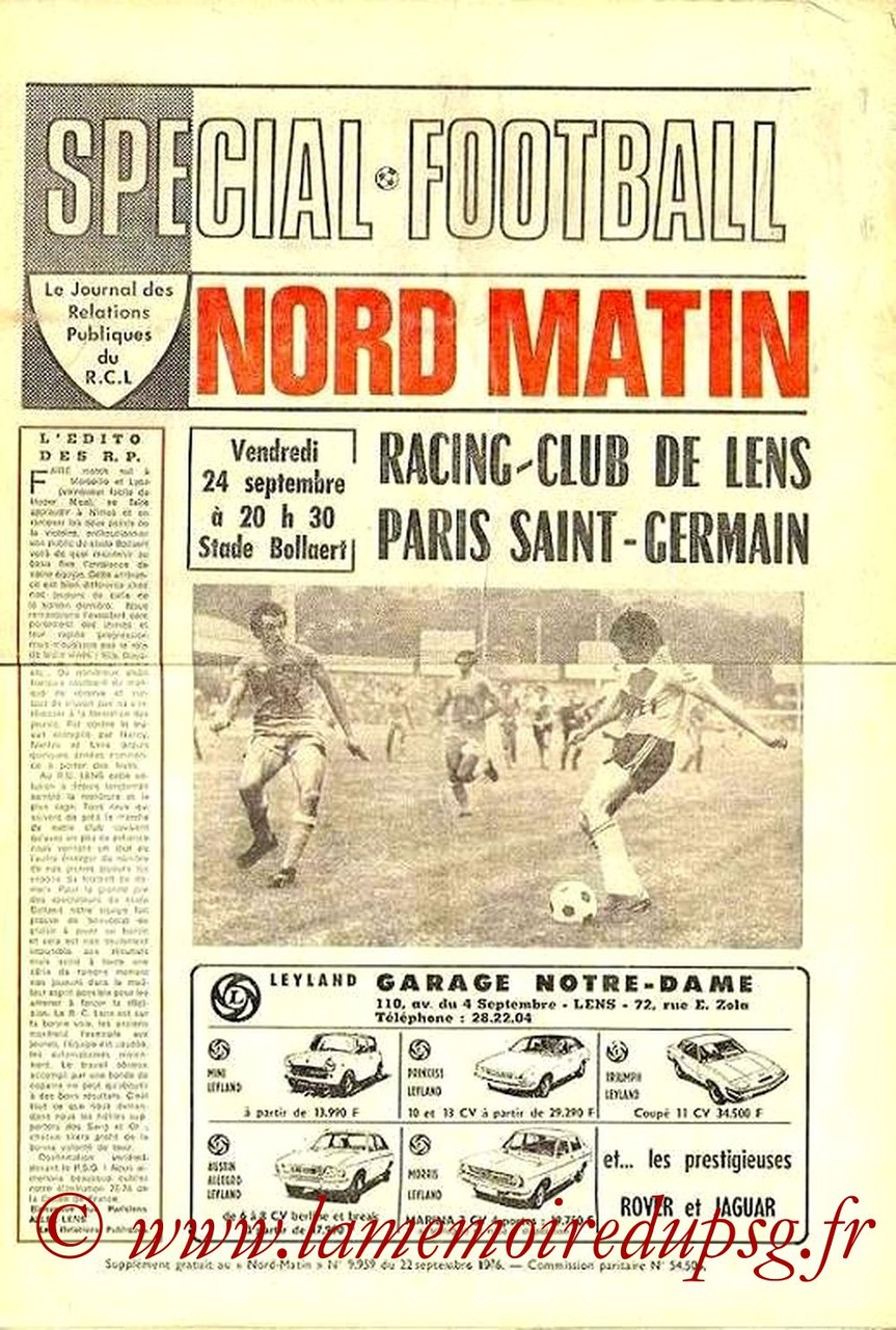 1976-09-24  Lens-PSG (8ème D1, Nord Matin)