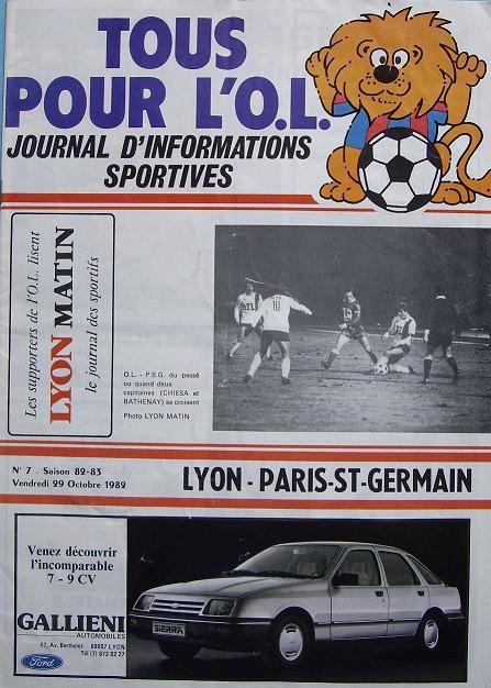 1982-10-29  Lyon-PSG (13ème D1, Tous pour l'OL N°7)
