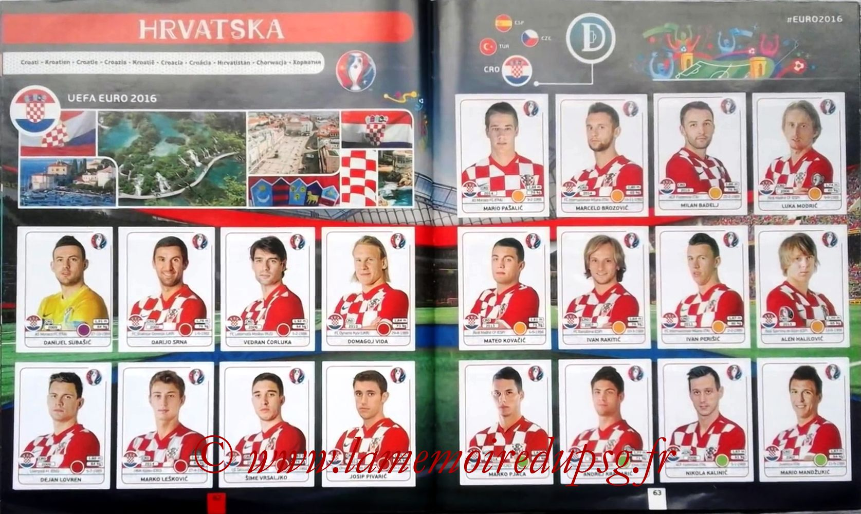 Panini Euro 2016 Stickers - Pages 62 et 63 - Croatie