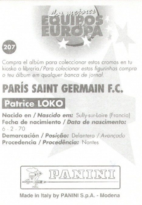 N° 207 - Patrice LOKO (Verso)