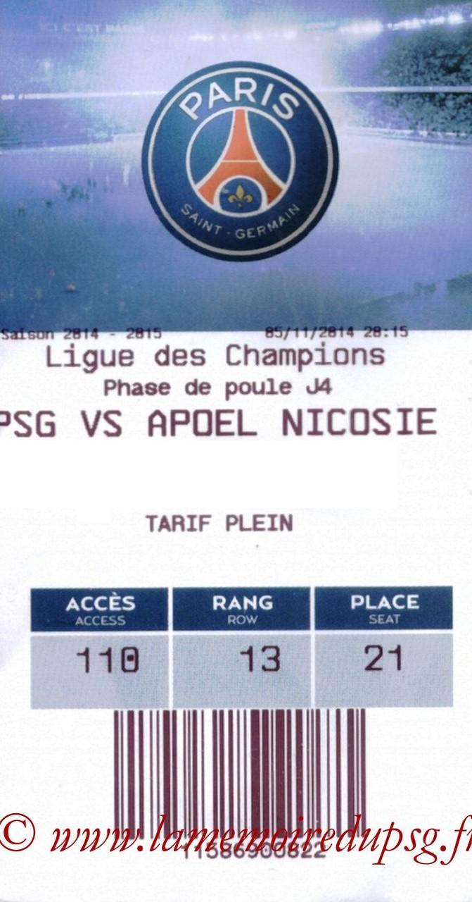 2014-11-05  PSG-Apoel Nicosie (4ème Poule C1, E-ticket)