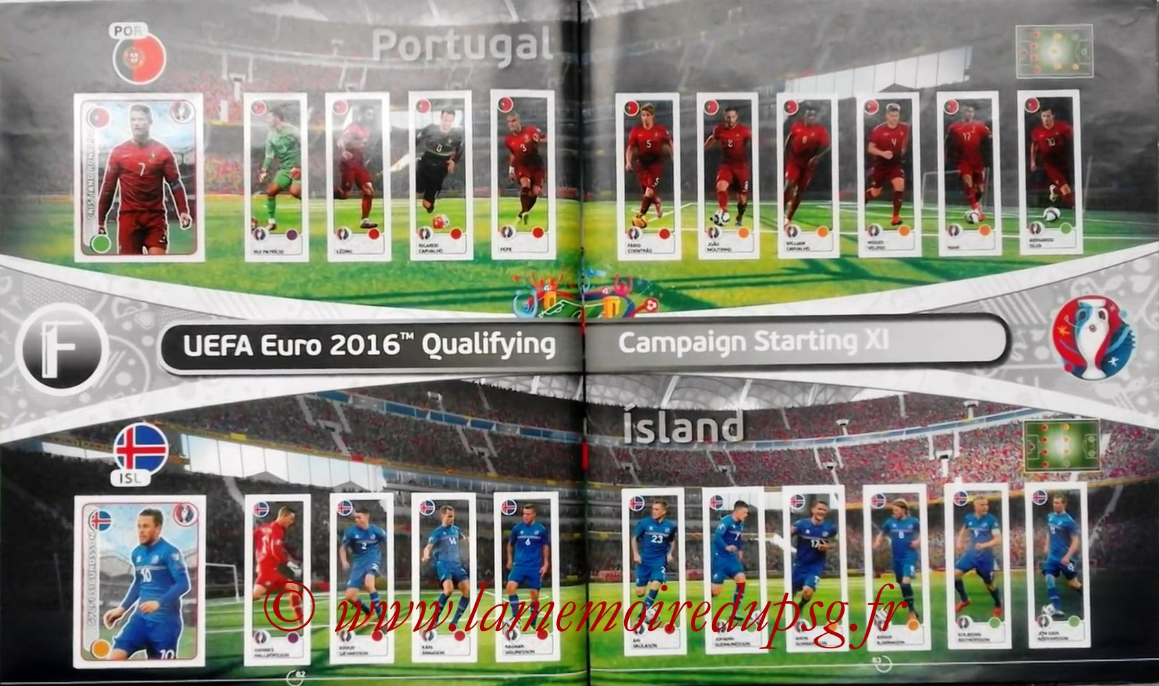 Panini Euro 2016 Stickers - Pages 82 et 83 - Portugal et Islande