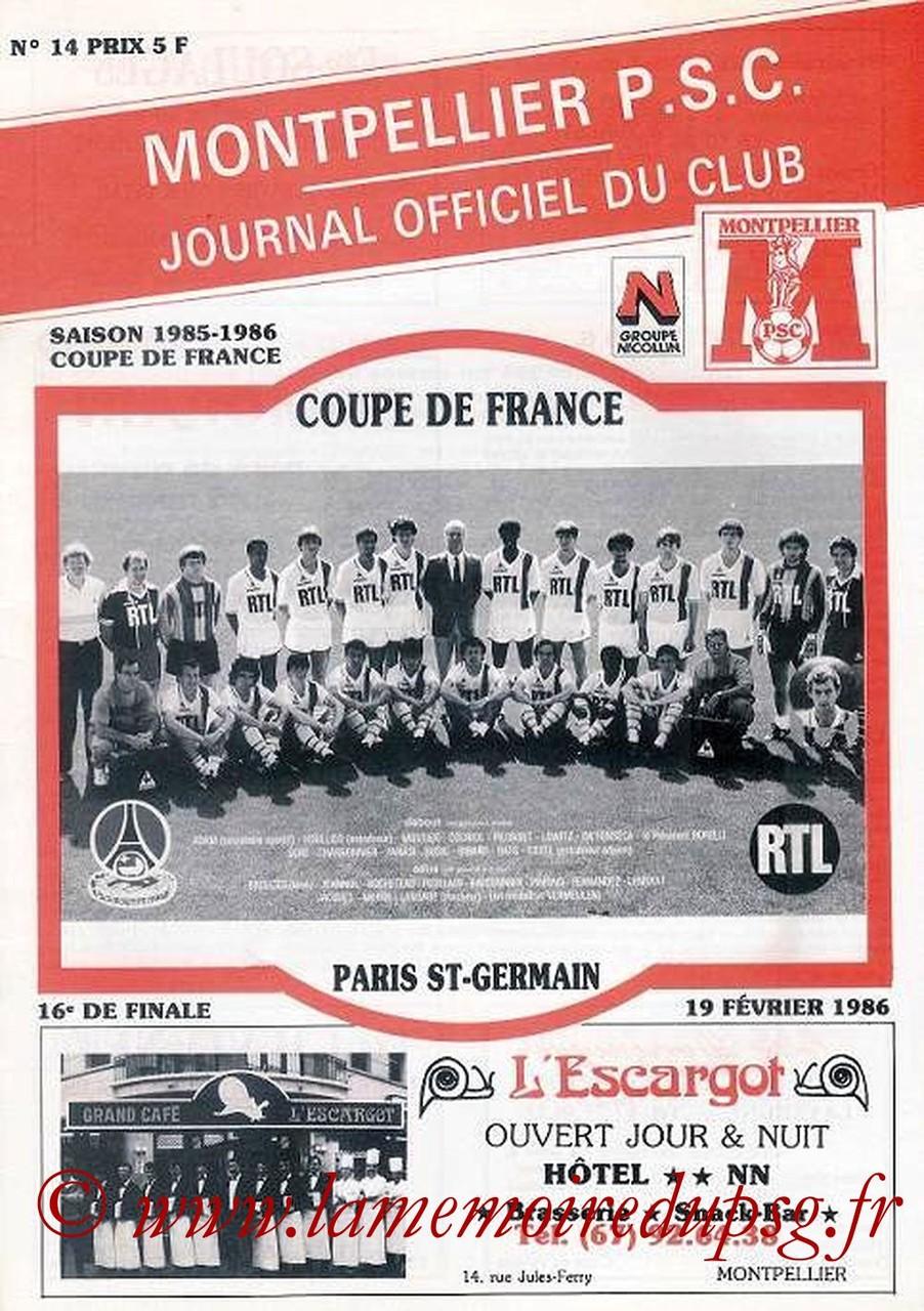 1986-02-19  Montpellier-PSG (16ème Finale Retour CF, Officiel N°14)