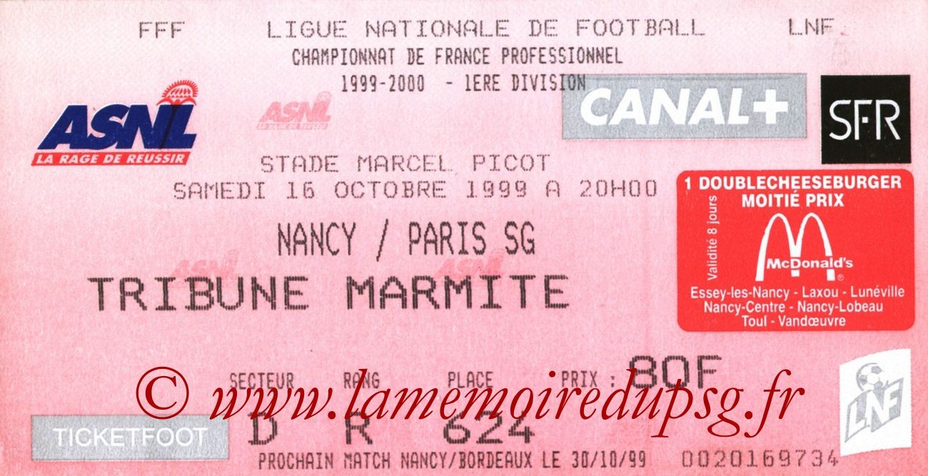 1999-10-16  Nancy-PSG (11ème D1, Ticketfoot2)