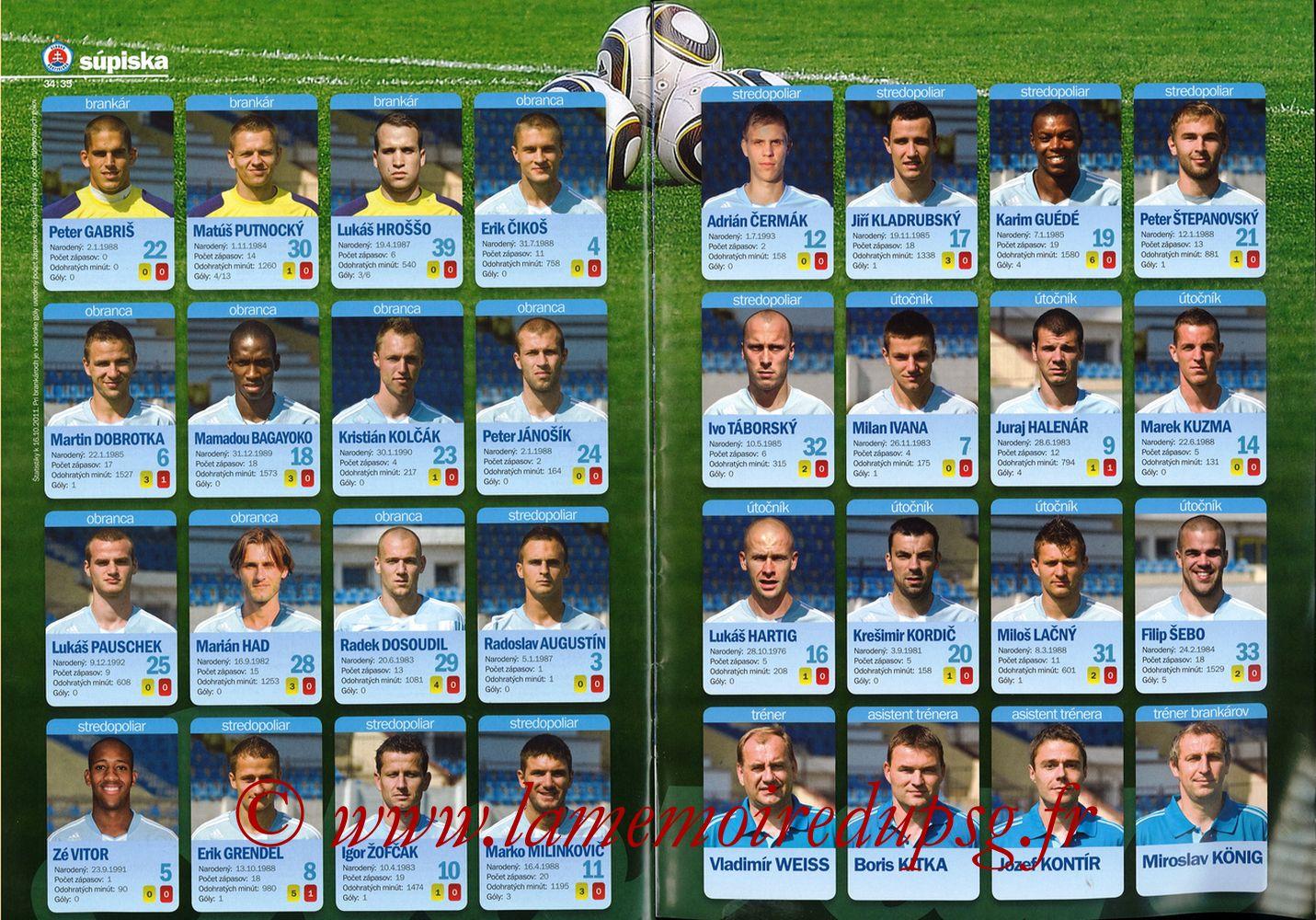 2011-10-20  Slovan Bratislava-PSG (3ème C3, Slovan N°4) - Pages 34 et 35