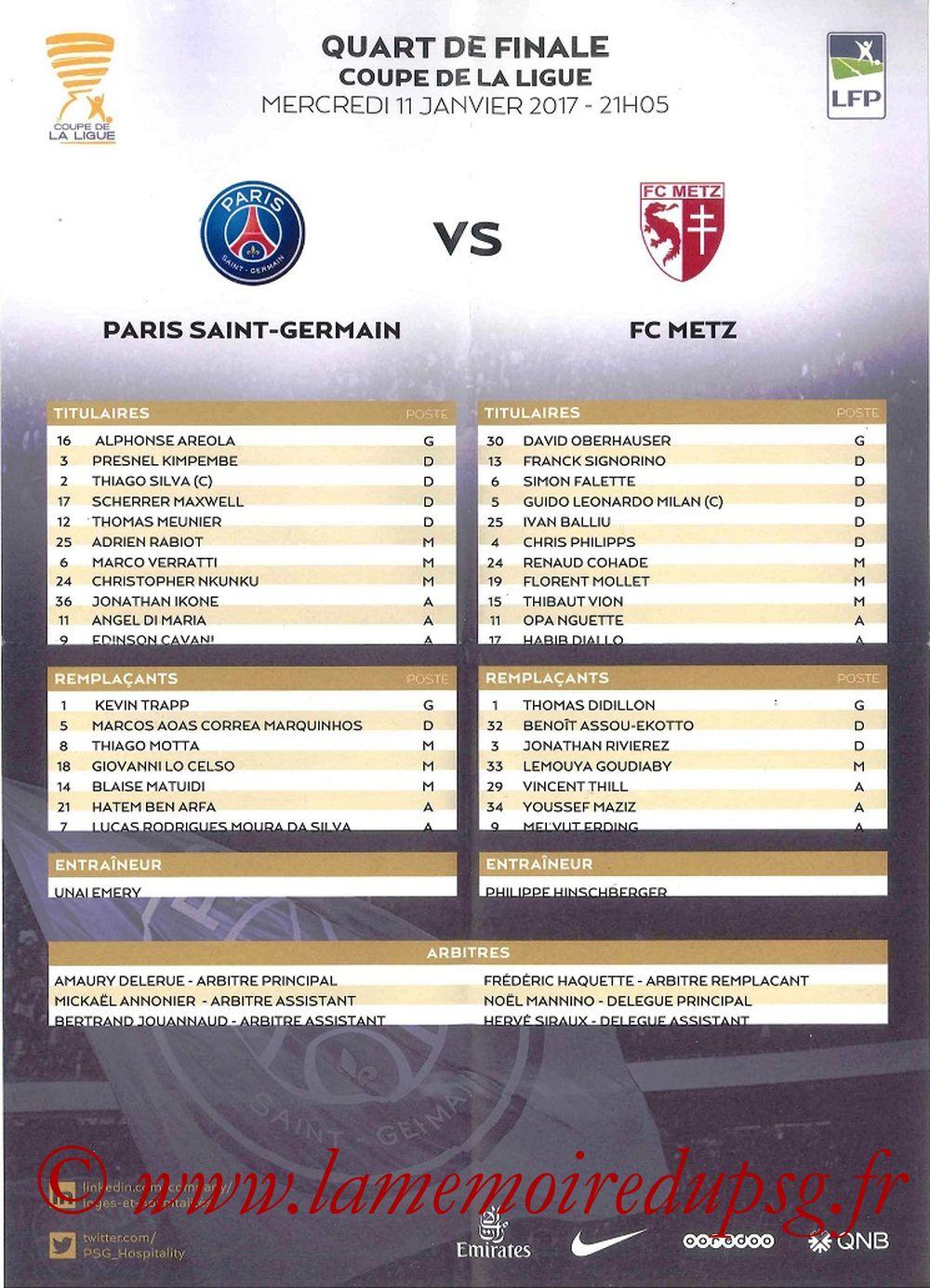 2017-01-11  PSG-Metz (Quart CL, Feuille de match)