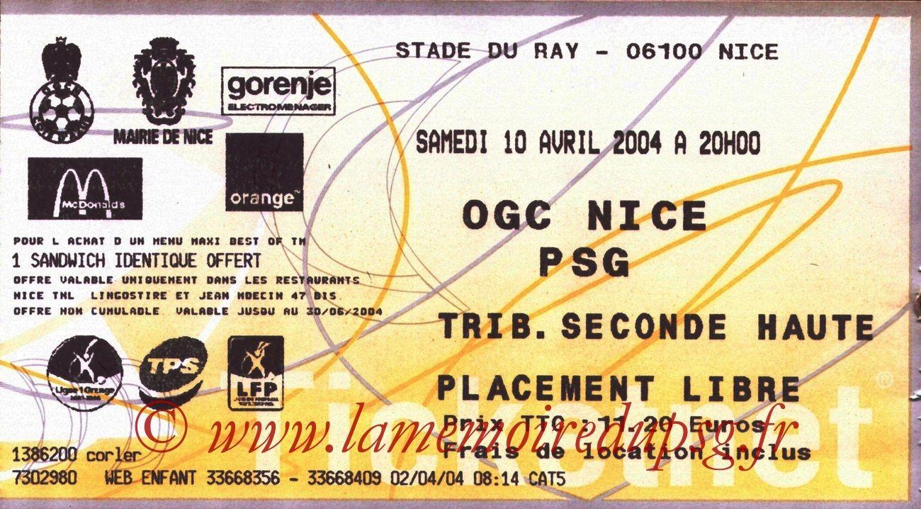 2004-04-10   Nice-PSG (32ème L1, Ticketnet)