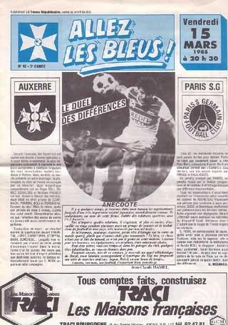 1985-03-15  Auxerre-PSG (28ème D1, Allez les Bleus N° )