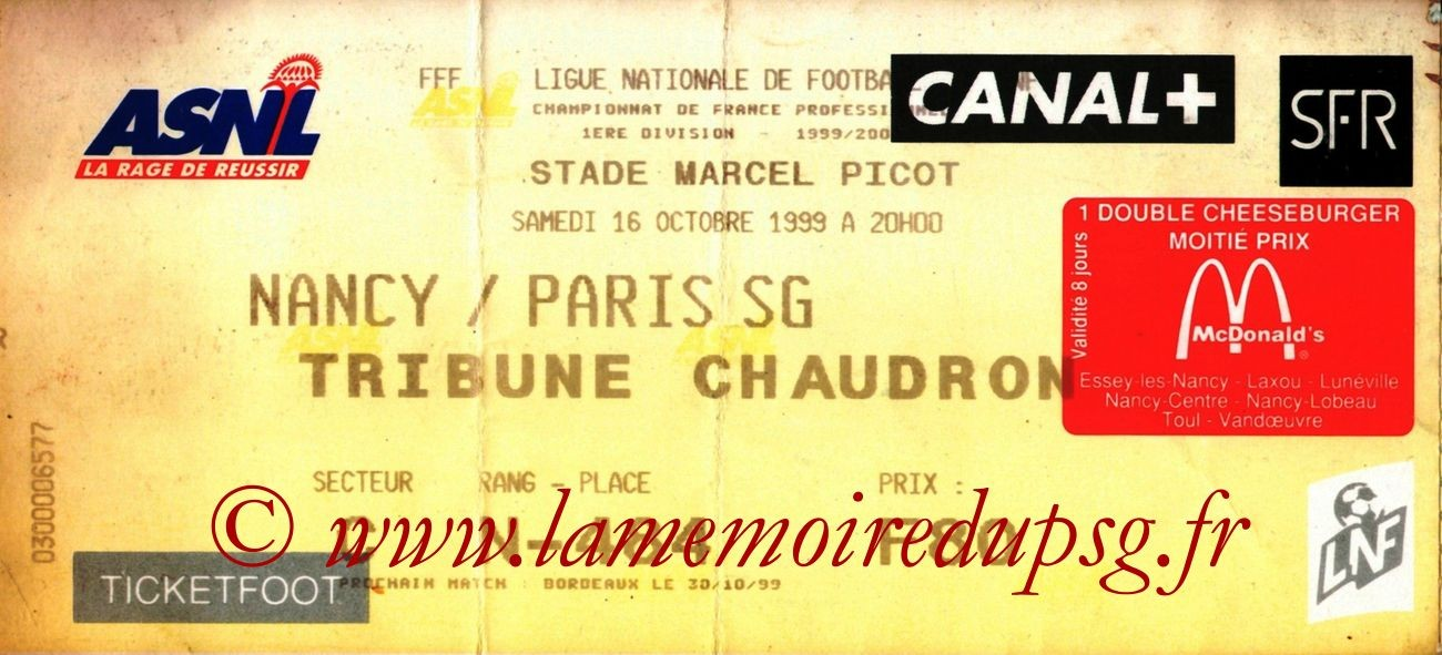 1999-10-16  Nancy-PSG (11ème D1, Ticketfoot3)