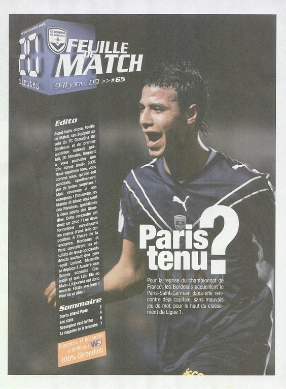 2009-01-11  Bordeaux-PSG (20ème L1, Feuille de match N° 65)