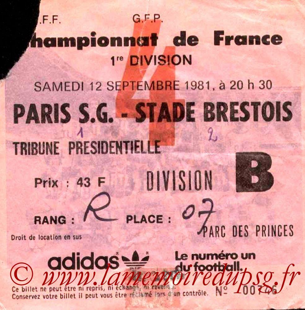1981-09-12  PSG-Brest (9ème D1, Ticket N°4)