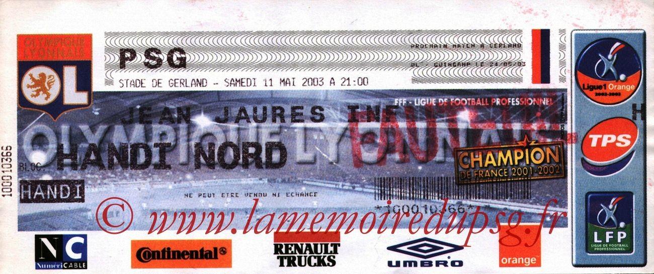 2003-05-11  Lyon-PSG (36ème L1)