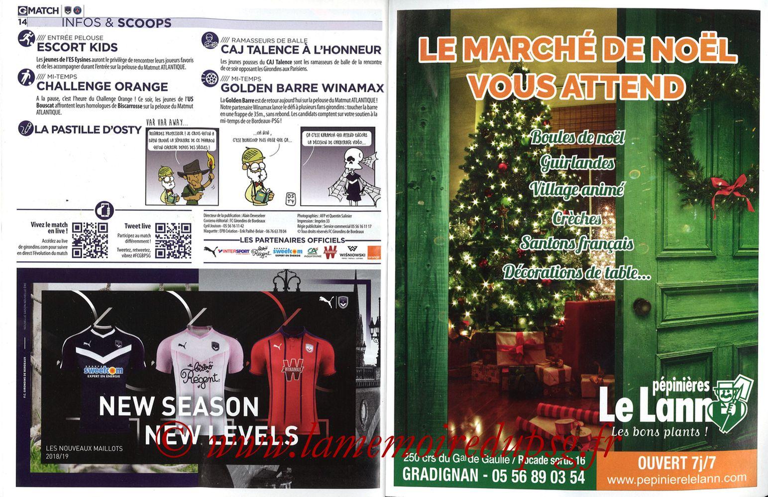 2018-12-02  Bordeaux-PSG (15ème L1, Girondins Match N°72) - Pages 14 et 15