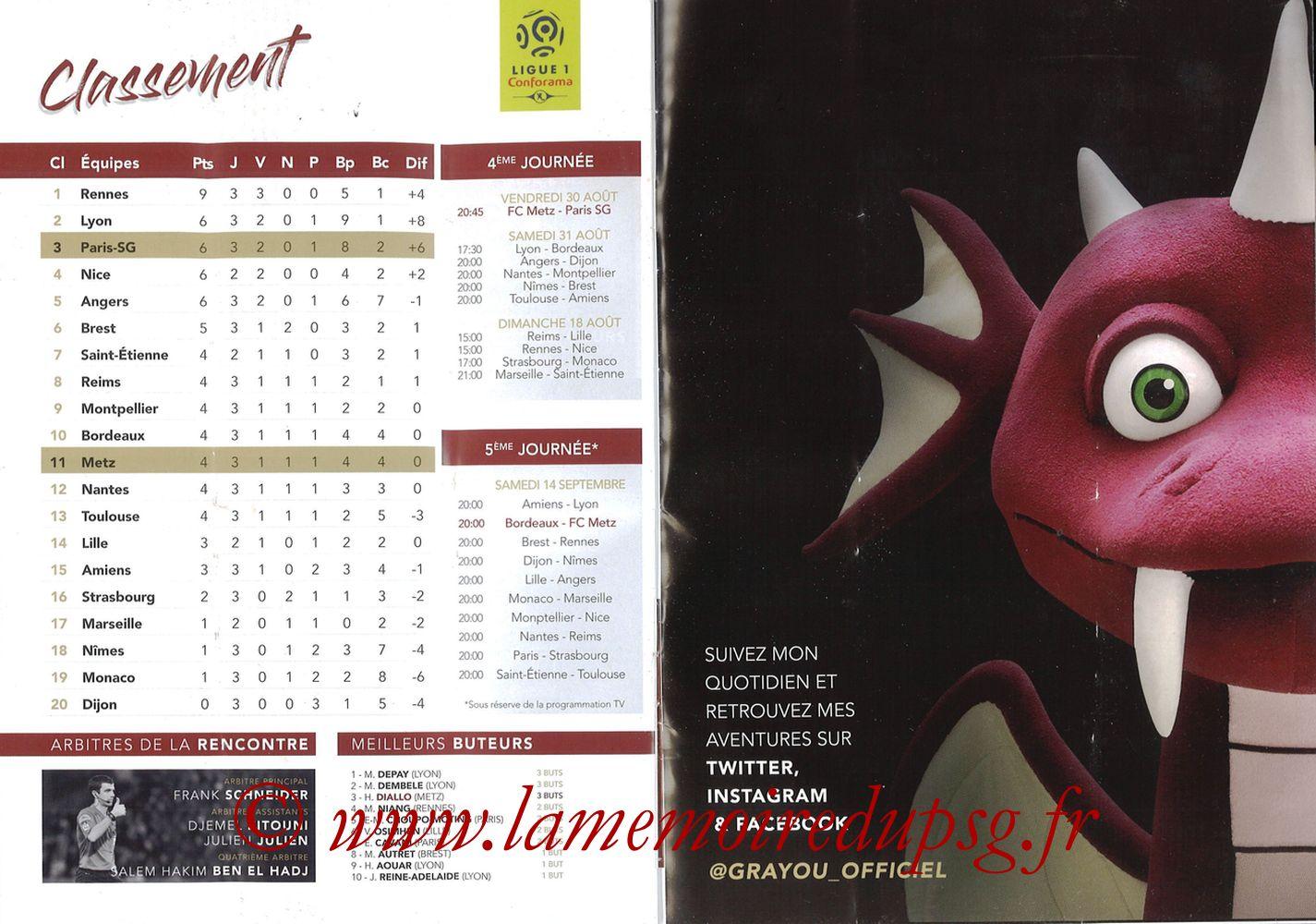 2019-08-30  Metz-PSG (4ème L1, La Gazette de Saint-Symph') - Pages 18 et 19