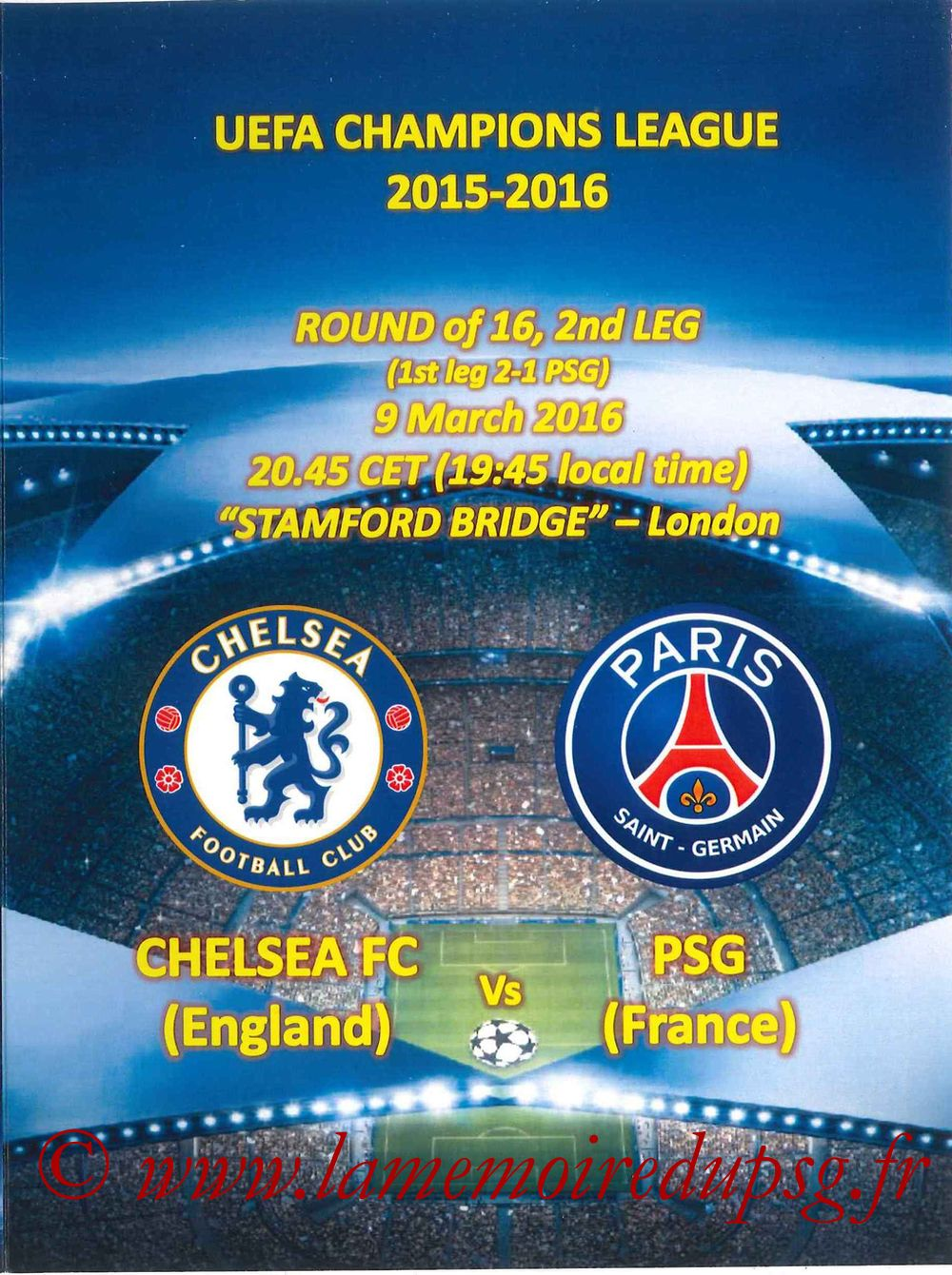 2016-03-09  Chelsea-PSG (8ème retour C1, Programme pirate)