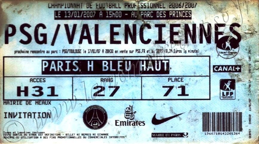 2007-01-12  PSG-Valenciennes (20ème L1, bis)