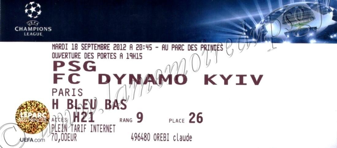 2012-09-18  PSG-Dynamo Kiev (1ère Journée Poule C1)
