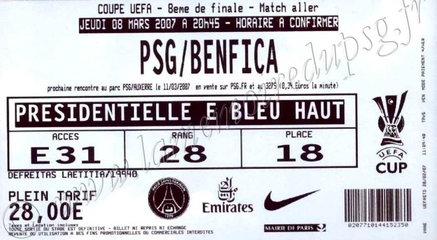 2007-03-08  PSG-Benfica (8ème Finale aller C3, bis)