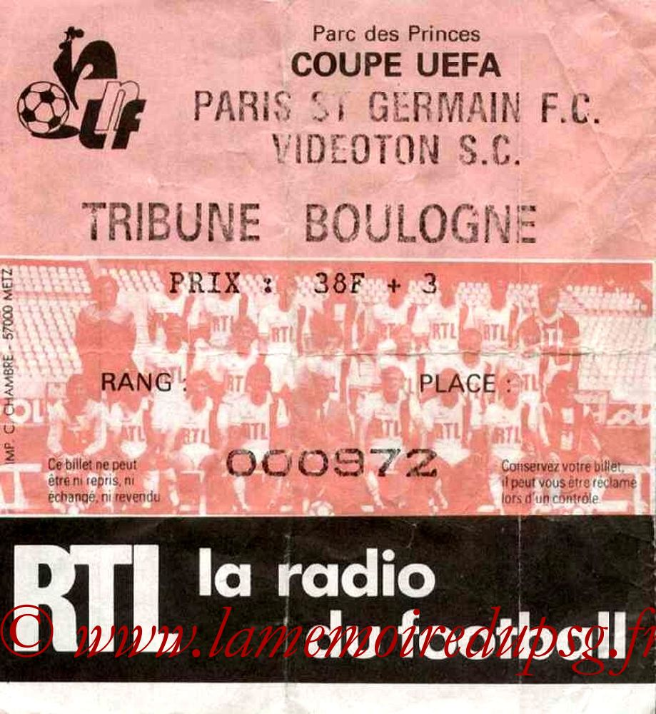 Ticket  PSG-Videoton  1984-85