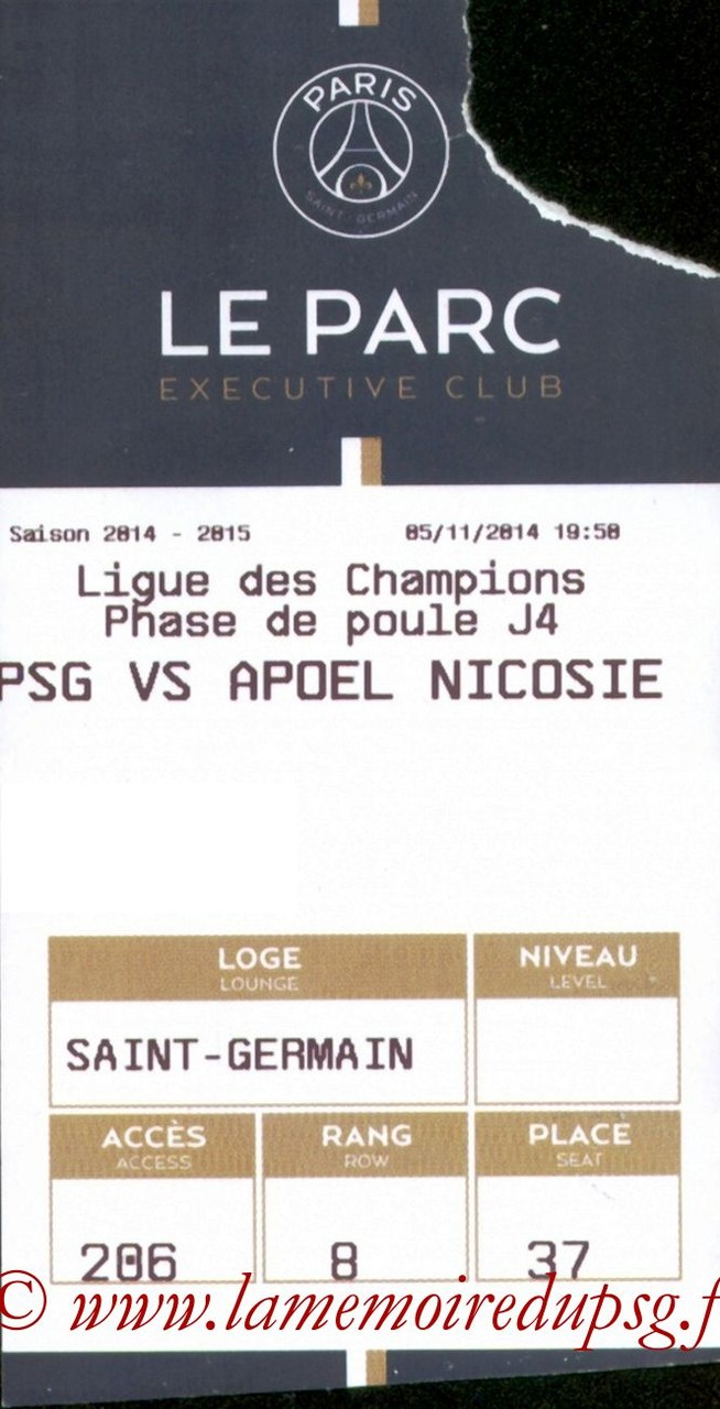 2014-11-05  PSG-Apoel Nicosie (4ème Poule C1, E-ticket Executive Club)