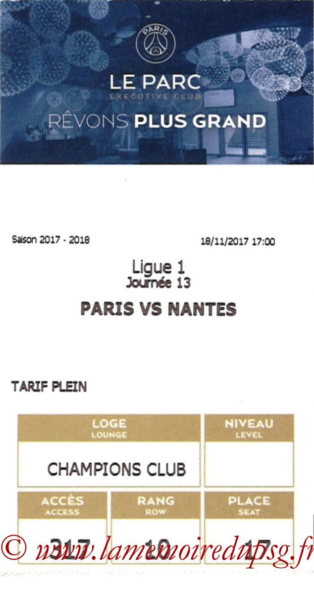 2017-11-18  PSG-Nantes (13ème L1, E-ticket Executive club)