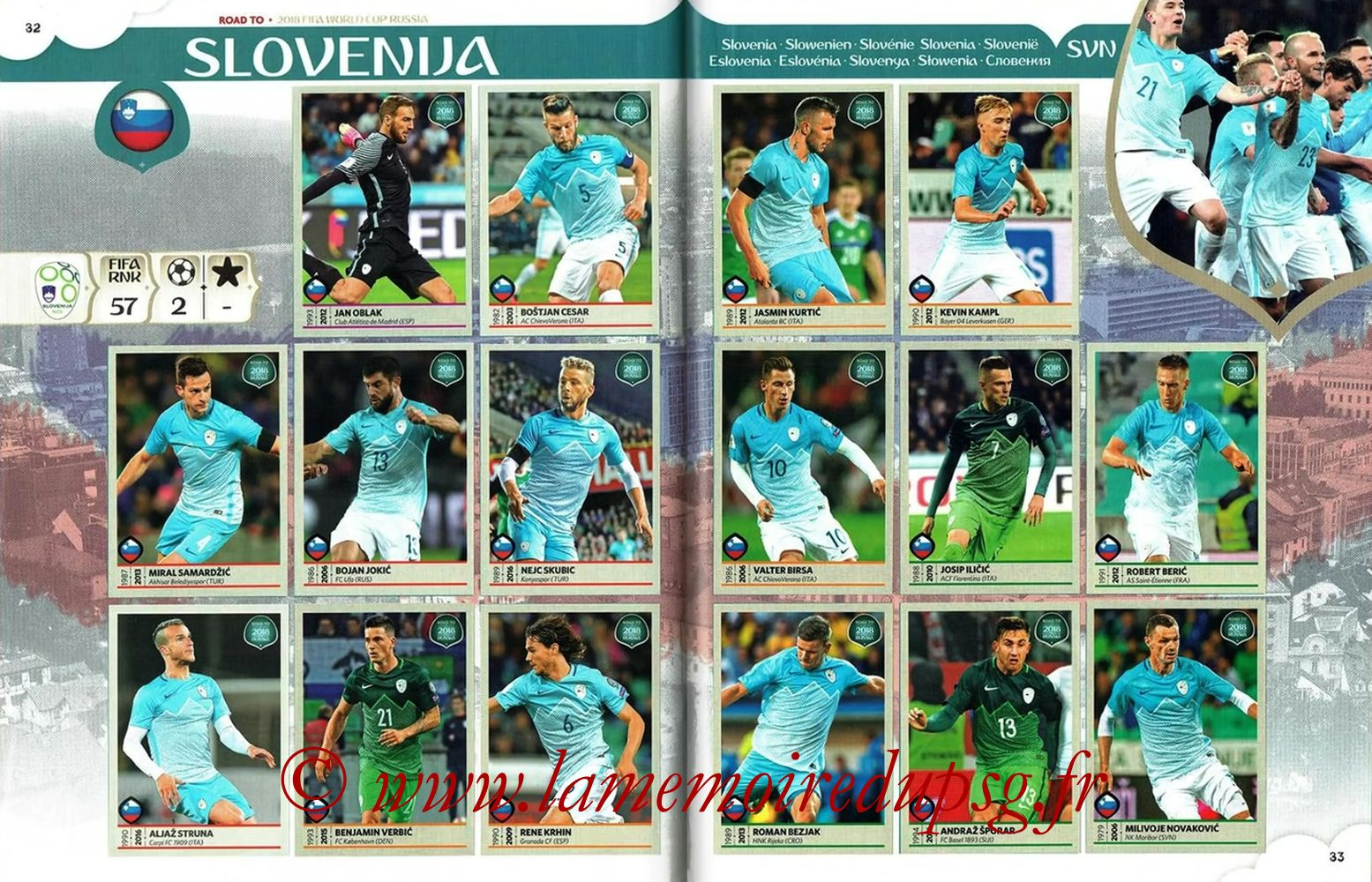 2018 - Panini Road to FIFA World Cup Russia Stickers - Pages 32 et 33 - Slovénie