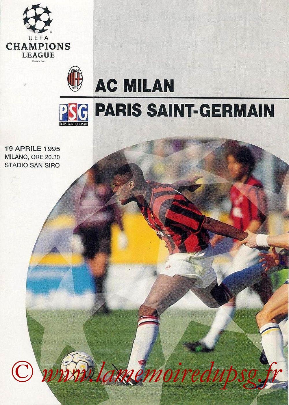 1995-04-19  Milan AC-PSG (Demi-Finale Aller C1, Programme officiel UEFA)
