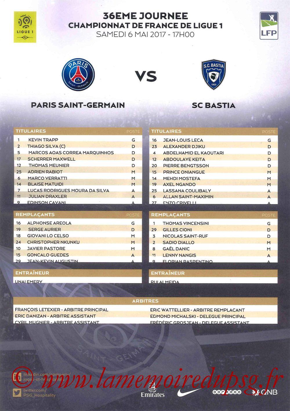 2017-05-06  PSG-Bastia (36ème L1, Feuille de match)