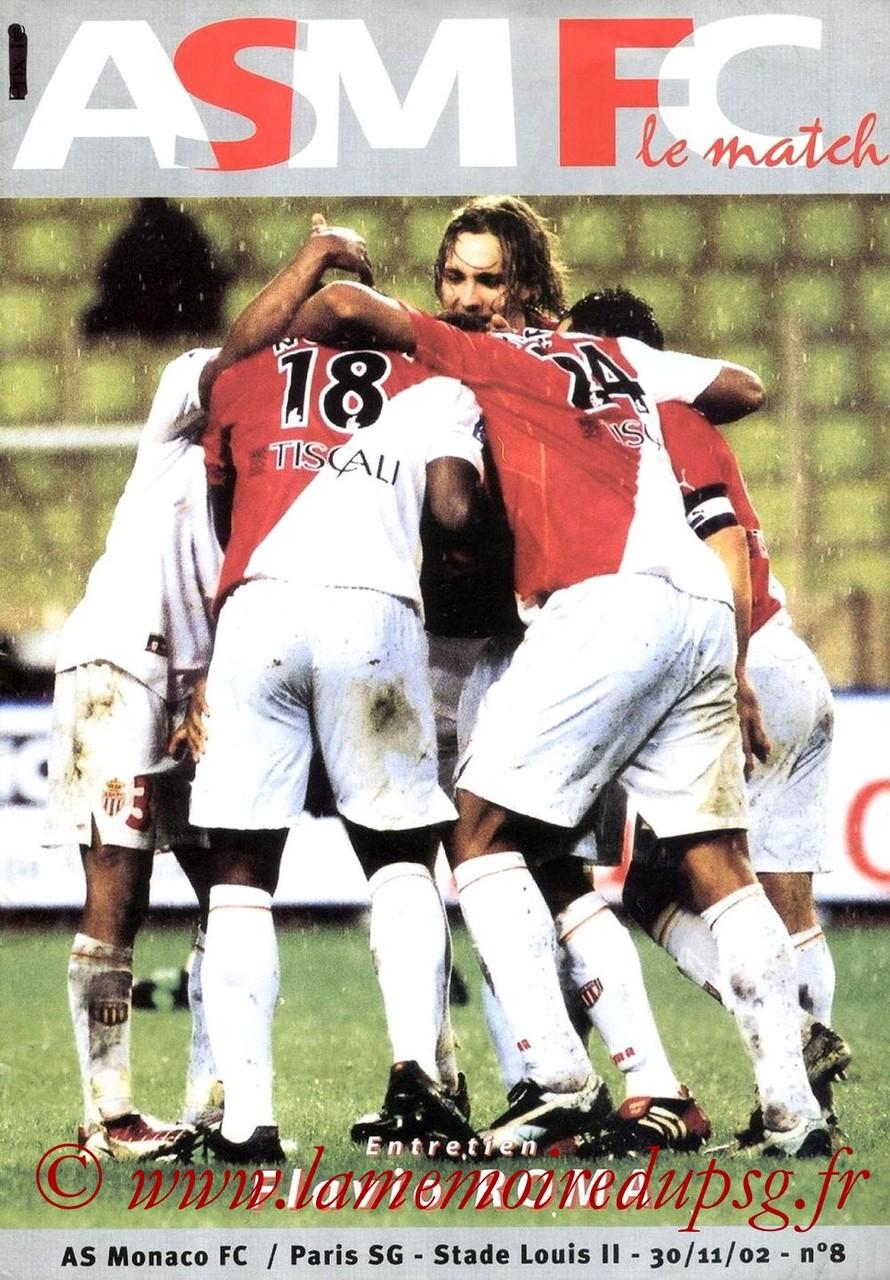2002-11-30  Monaco-PSG (17ème D1, ASM FC le match N°8)