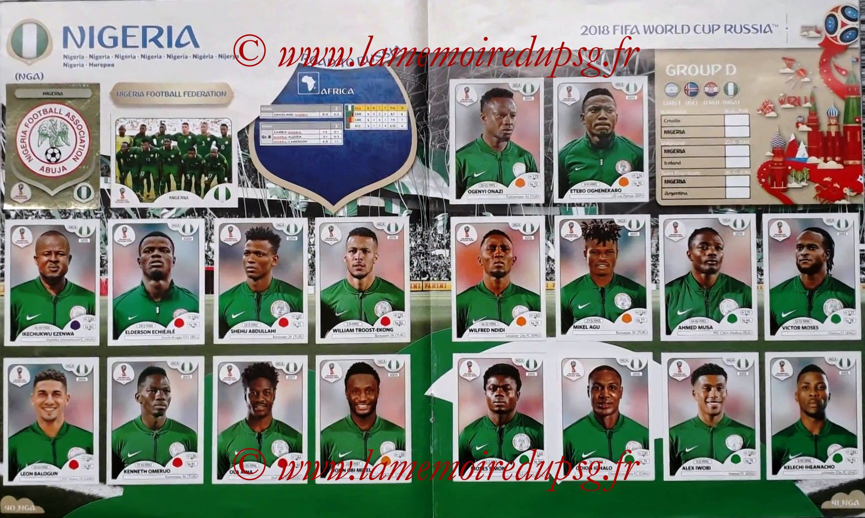 2018 - Panini FIFA World Cup Russia Stickers - Pages 40 et 41 - Nigeria