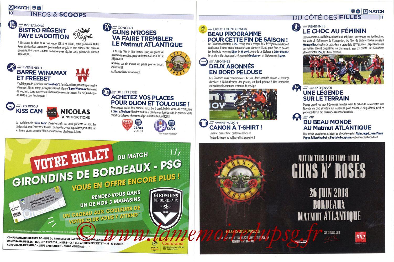 2018-04-22  Bordeaux-PSG (34ème L1, Girondins Match N°59) - Pages 10 et 11